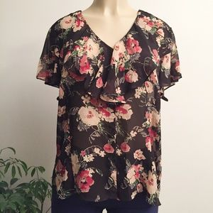 Chaps Flowy Ruffle Floral Top WP392